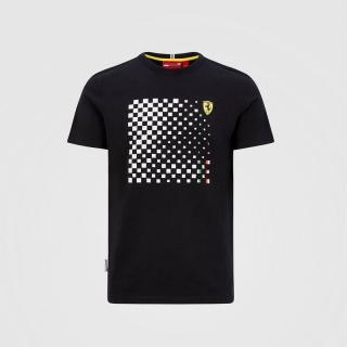 CHECKERED GRAPHIC T-SHIRT FERRARI - TRIČKO FERRARI FLAG ČERNÉ