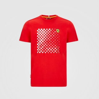 CHECKERED GRAPHIC T-SHIRT - TRIČKO FERRARI FLAG ČERVENÉ