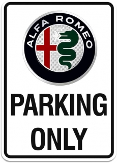 Alfa Romeo cedule PARKING ONLY